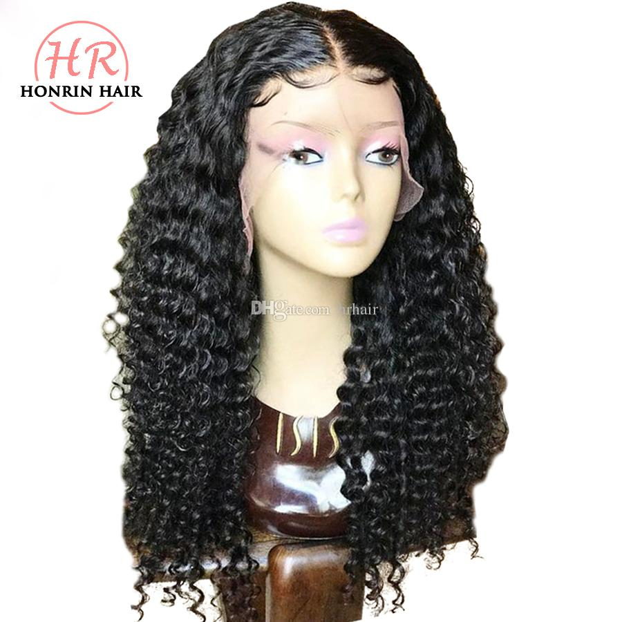 Honrin Hair Full Lace Wig Kinky Curly Pre Plucked Hairline Bleached Knots Brazilian Virgin Human Hair Lace Front Wig 150% Density Glueless