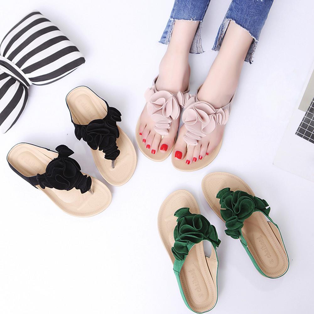 8b0a79687591 Women S Summer Beach Flip Flops Casual Flat Floral Shoes Lady Pretty Floral  Flat With Basic Sandals Sandals For Girls Designer Shoes White Shoes From  ...