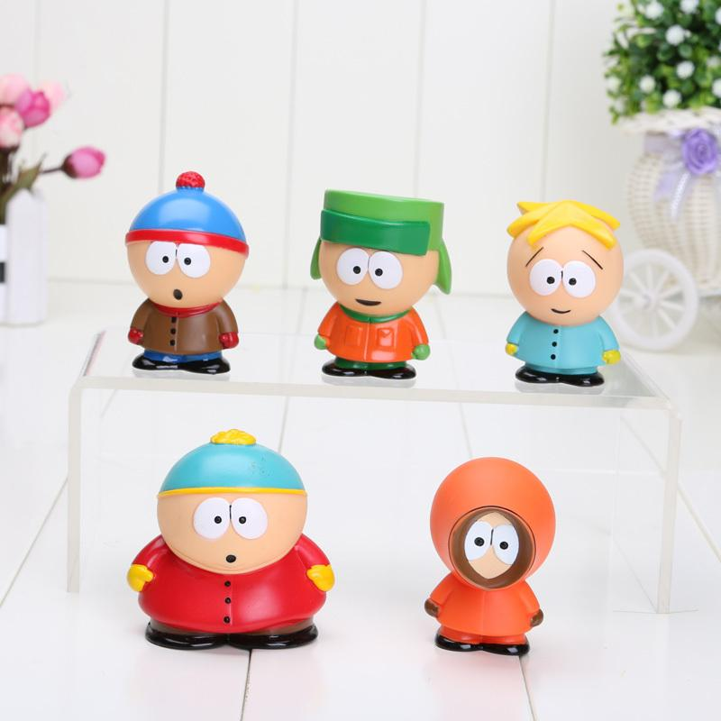 5pcs /Set 5cm South Park Mini Pvc Action Figure Toys Dolls New kids toy action figures In Opp Bag Free Shipping
