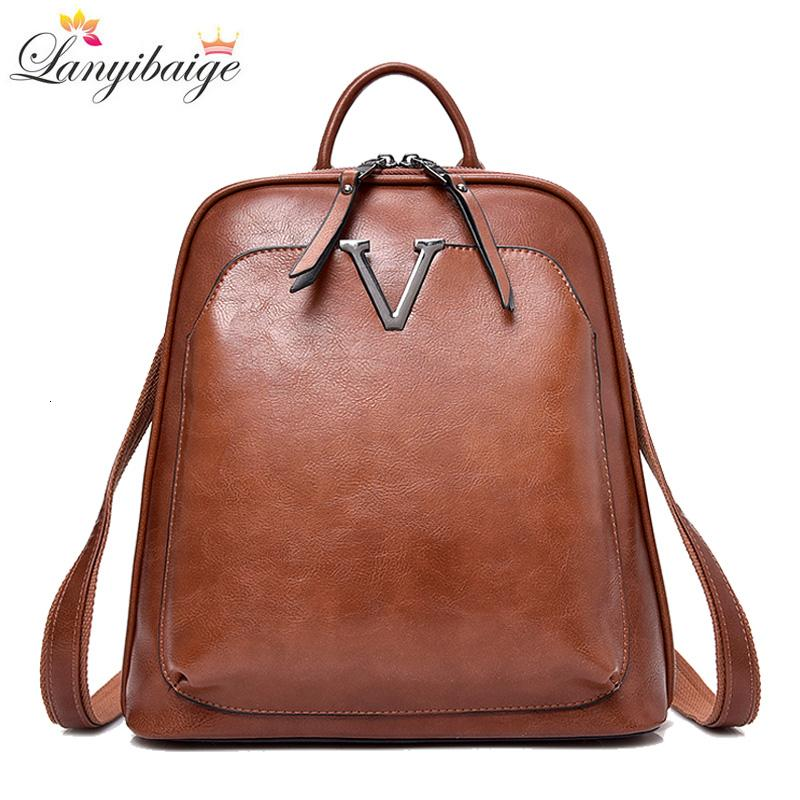 New Vintage Women Backpack High Quality Leather Brand Female Shoulder Bag Lady Multifunction Backpack Hot School Bags For Girls T190915