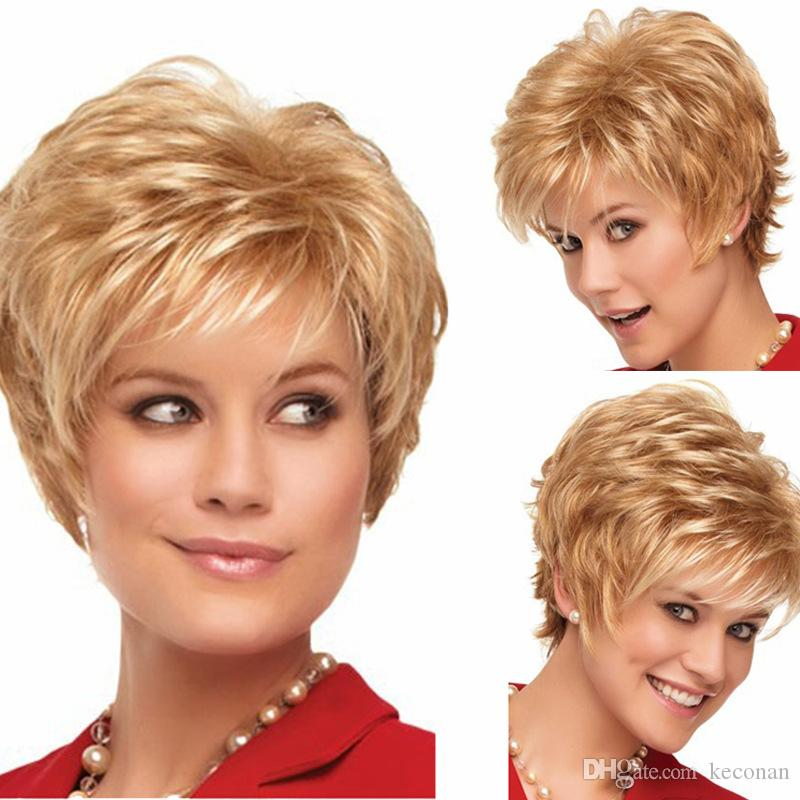 Simulated Human Hair Woman's Blonde Hair Slightly Curled Harsh and Fluffy Short Hair with High-grade Rose Intranet