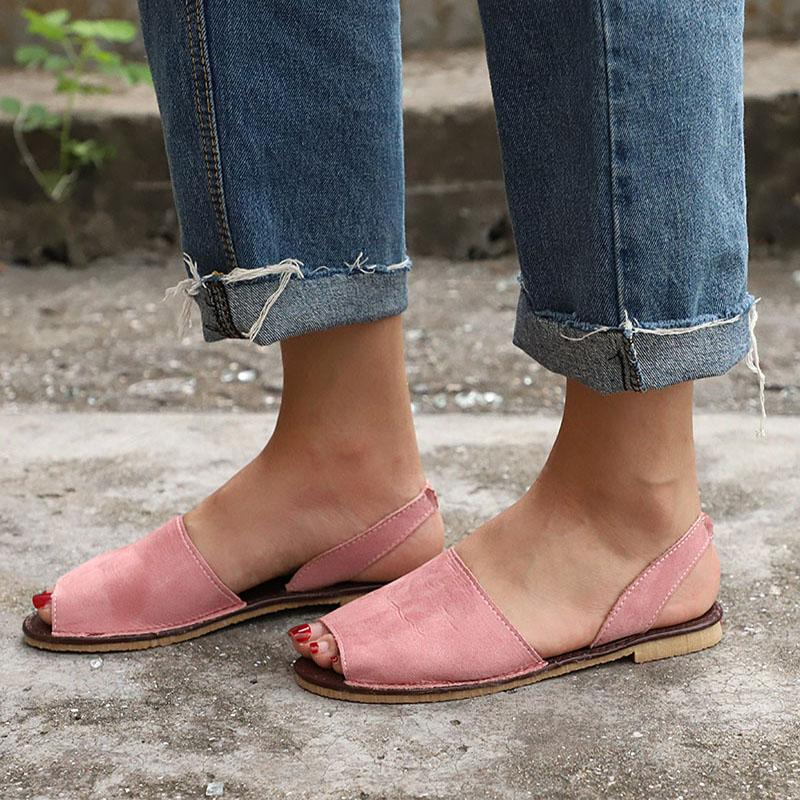 c6f3a877f98 Summer Peep Toe Sandals Women Flats Back Strap Casual Shoes Faux Suede Slip  On Elastic Band Leisure Solid Footwear Plus Size Platform Sandals Wedges  Shoes ...