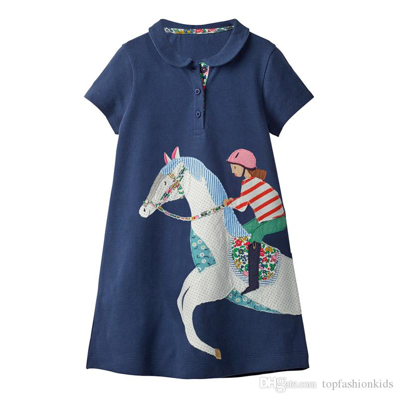 e8d5d194280 2019 Kids Designer Clothes Girls Embroidery Party Dress Animals Striped  Princess Children Clothing Cartoon Appliqued Summer Girl Dress 2 7T From ...
