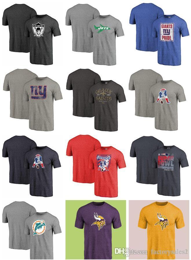 31ab2644c9f29 Compre Minnesota Vikings Patriotas Santos New York Giants Jets Oakland  Raiders Golfinhos Mens Camisetas Retro Logo Tri Blend T Shirt De Manga  Curta De ...