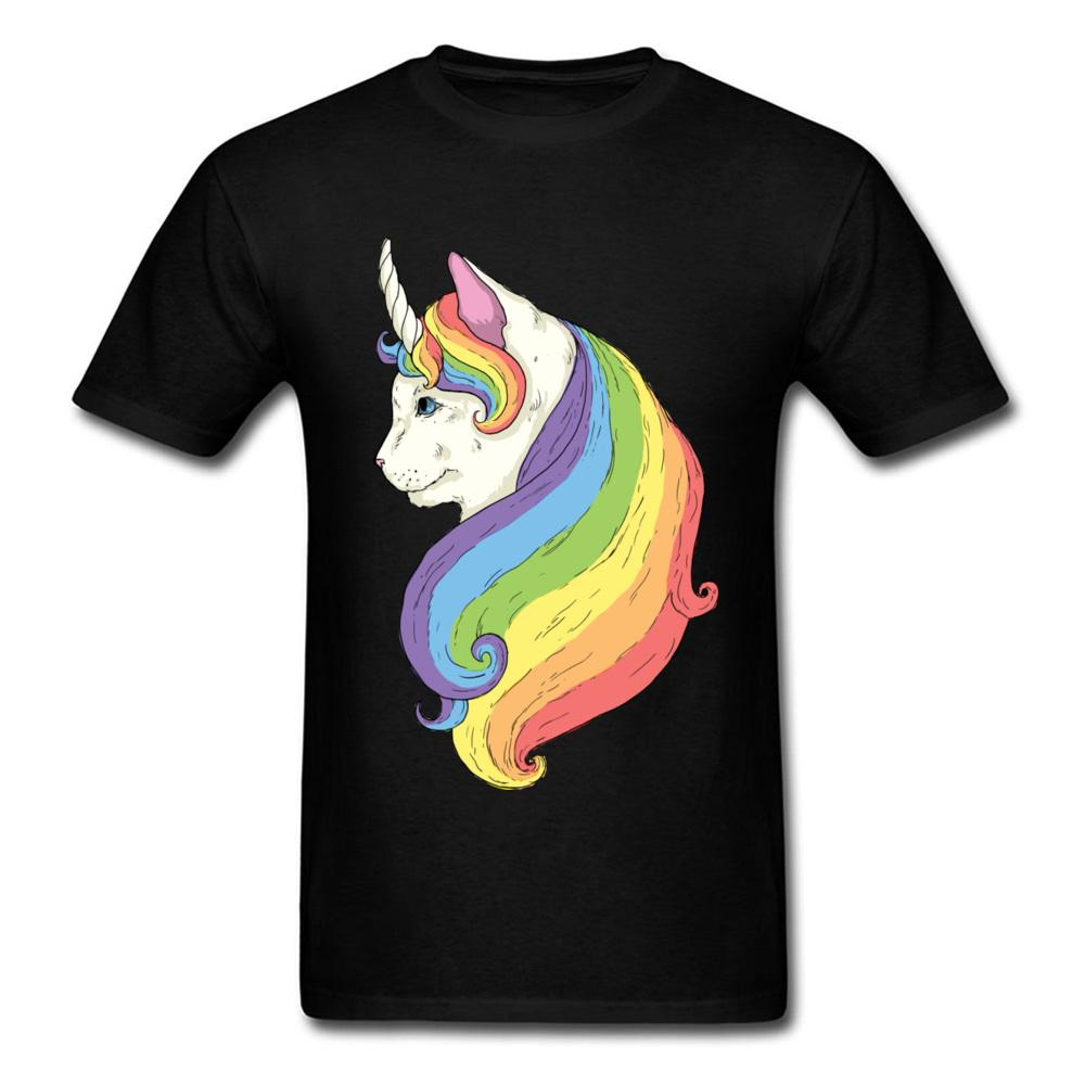 ad7600f11e617 Compre Novedad Camiseta Gato Unicornio Montaje Diseño De Dibujos Animados  Para Hombre Tops Dibujo Creativo Sin Desvanecimiento Algodón Camiseta Negra  Para ...