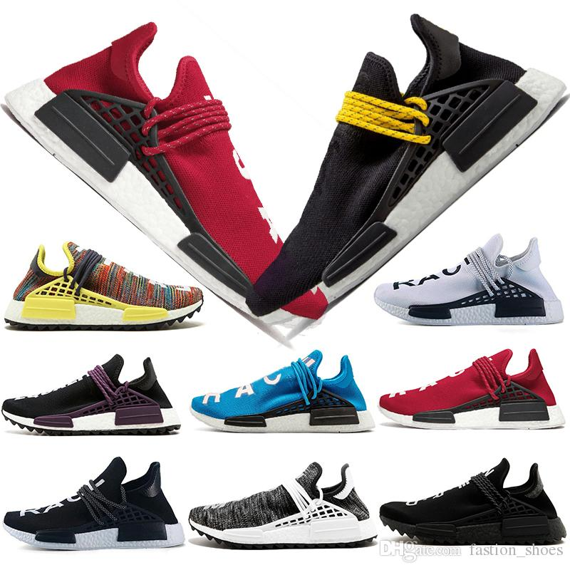 on sale 665fb 19863 Compre Adidas NMD Running Shoes Off White Originales Baratos Raza Humana  Zapatos Para Correr Holi Core Negro Igualdad Hombres Mujeres Pharrell  Williams HU ...