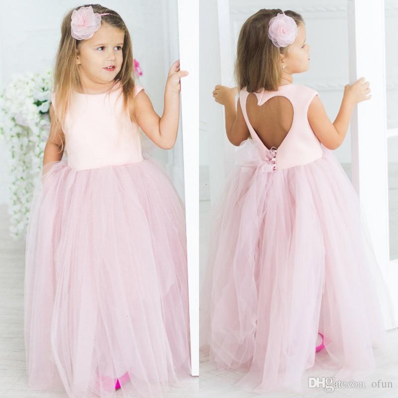fce292516 Cheap Pink Tulle Flower Girl Dress Cute Jewel Neck Heart Backless Sleeveless  Floor Length Little Girls Pageant Dresses Black Flower Girl Dresses Blue  Flower ...
