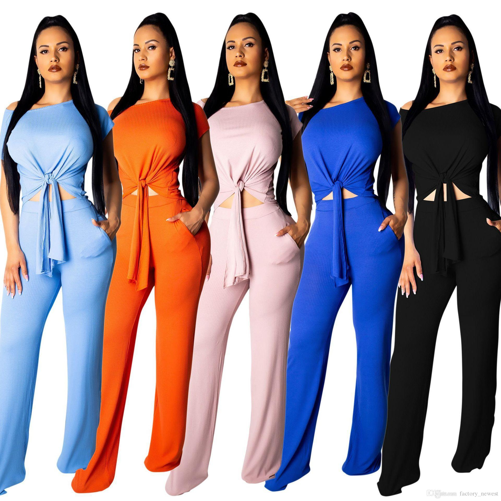 2fe0a598710 2019 New Women Summer Knitted Short Sleeve Bandage Crop Tops Sweater T Shirt  +Wide Leg Long Pants Set Suit Outfits For Ladies From Factory newest