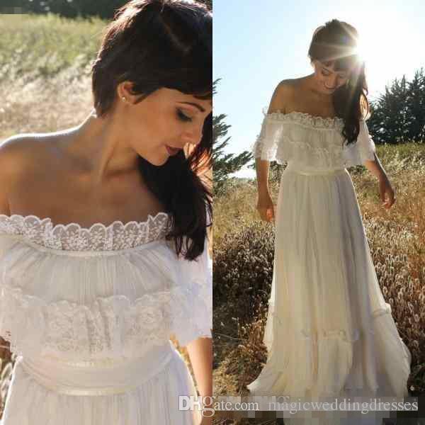 6a133216f2e Discount 2018 Cheap Vintage Country Bohemian Lace Wedding Dress Off Shoulder  Applique Trim Chiffon Full Length Garden Boho Beach Wedding Bridal Gowns A  Line ...
