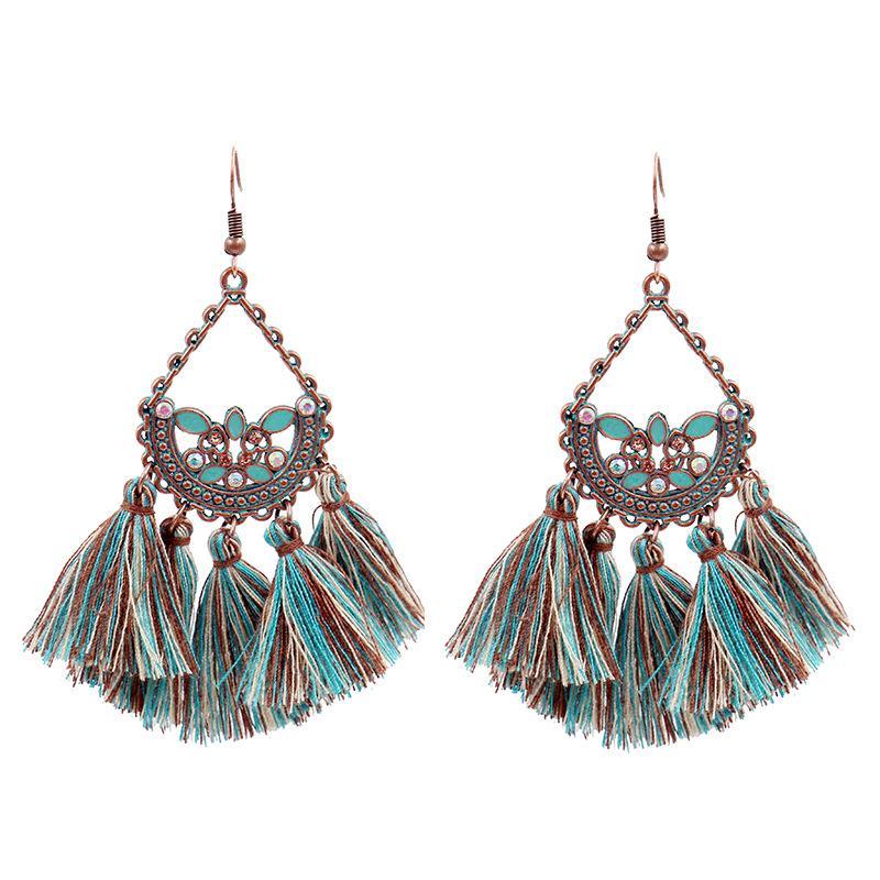 8e1173975 2019 Enamel Water Drop Flower Basket Long Tassel Fan Shaped Earring Fashion  Earrings Jewelry Fringe Eardrop For Women Friendship Gifts 2019New From  Zj501288 ...