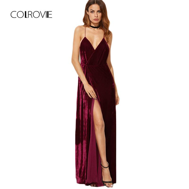 2ad056096d Colrovie Burgundy Velvet Maxi Backless Dress Womens Autumn Party ...