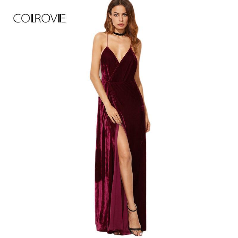 20576ca91 Compre Colrovie Burgundy Velvet Maxi Backless Vestido Para Mujer Vestidos  De Fiesta De Otoño Cuello En V Largo Vestido Elegante Nuevo Vestido De Tiras  Con ...