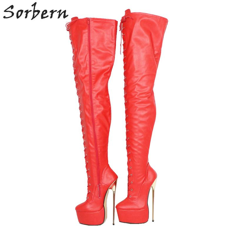 Red Matte Mid Thigh Boots For Women Metal High Heels Custom Shaft Length Width Thick Platform Shoe Long Boot Ladies Big