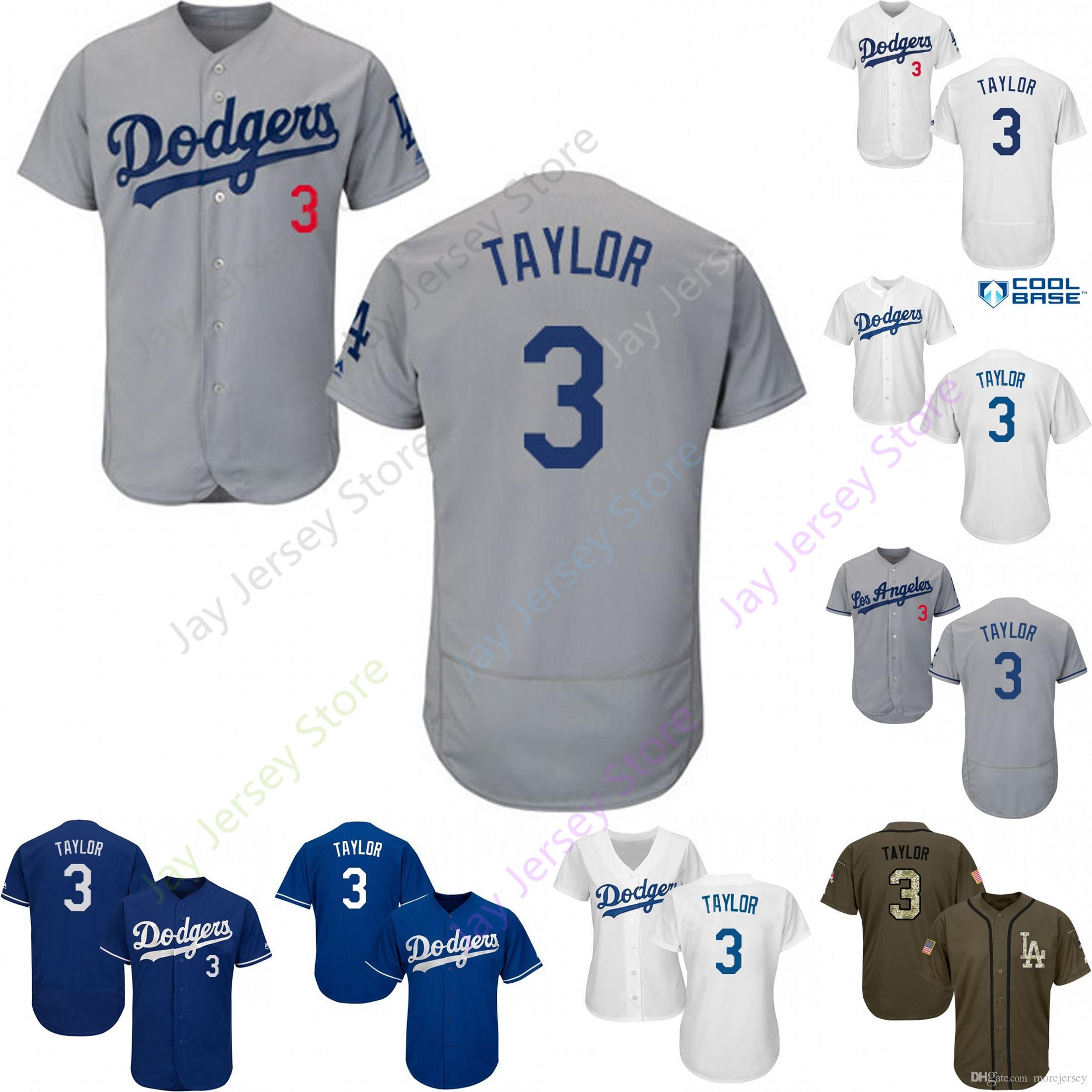 sale retailer 796eb 7fb46 2019 Los Angeles 3 Chris Taylor Jersey Dodgers Jerseys Cool Base Flexbase  Home Away White Black Red Grey Pullover Button Men Women Youth