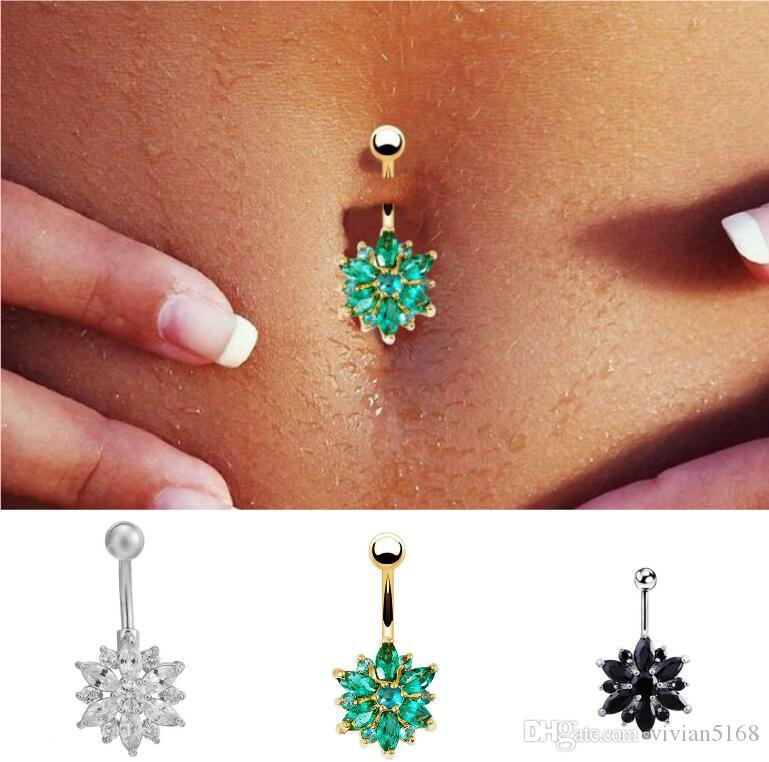 Sexy Anti Allergy Belly Button Rings Star Heart Crystal Belly Earrings Nail Titanium Navel Rings Dangle Navel Body Piercing Jewelry