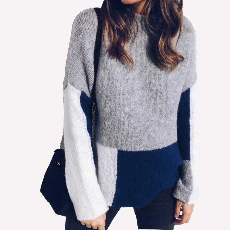5a5ade2b78167 2019 Winter Women Color Matching Sweaters Female Knitted O Neck Pullover  Sweater Patchwork Plus Size Pull Mujer Knitting Tops M0214 From Jamie11