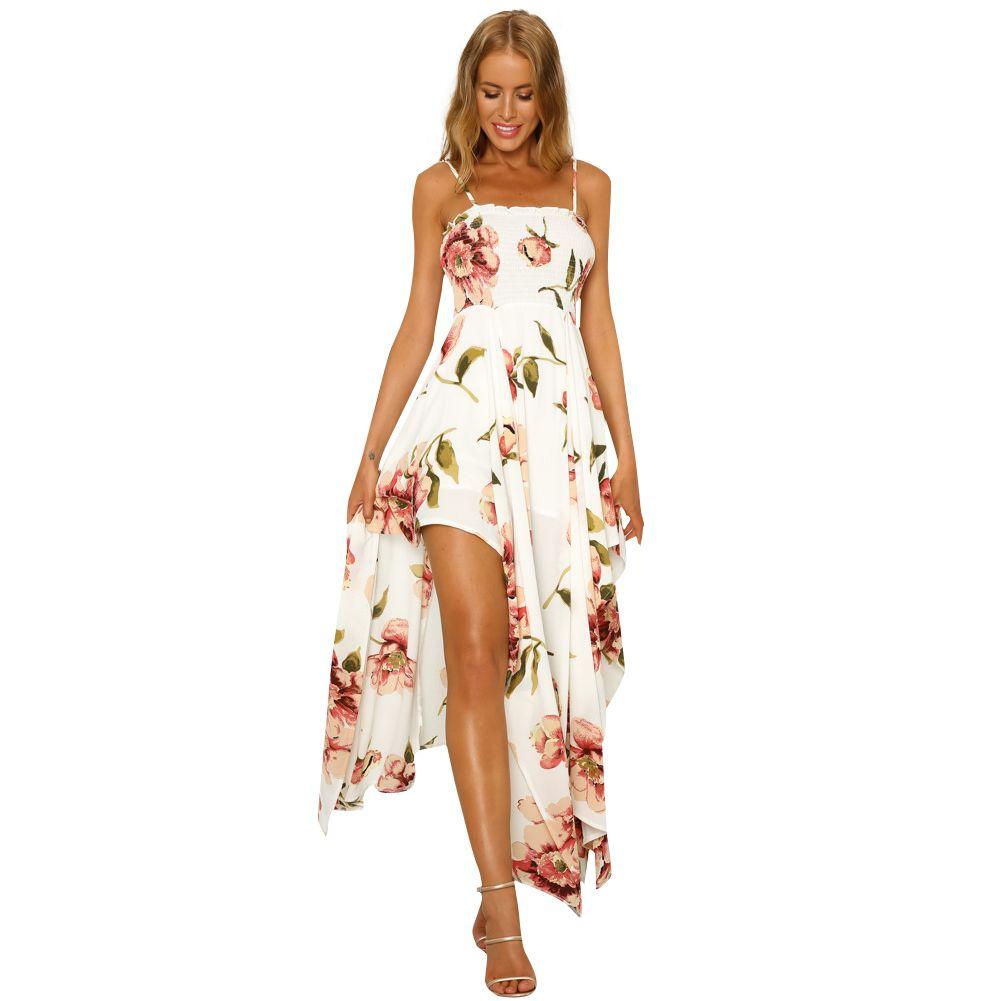 30ce2911b080a Sexy Women Boho Dress Floral Print Shirred Spaghetti Strap Slip Dress 2019  Tie High Waist Asymmetric Gown Maxi Party Beachwear Red Carpet Dresses  Black Prom ...