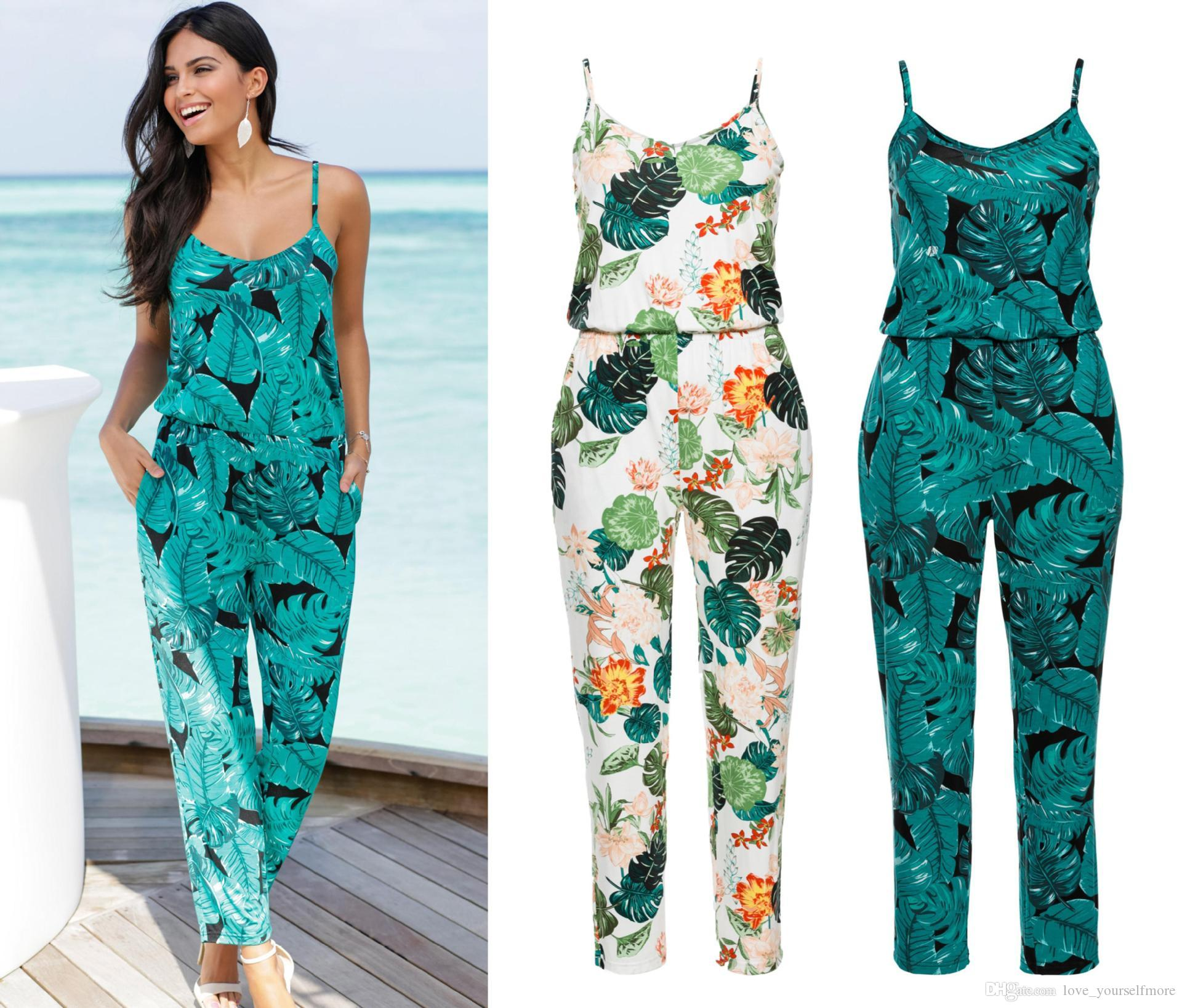 cf622073a4c5 New Arrival Women Floral Print Romper Jumpsuit Sleeveless Beach ...
