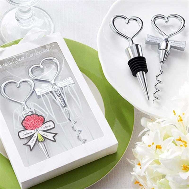 Love Heart Shape Wine Corkscrew Bottle Opener Stopper Sets Wedding Souvenirs Guests Gift Party Favor Wedding Giveaways Gift EEA196