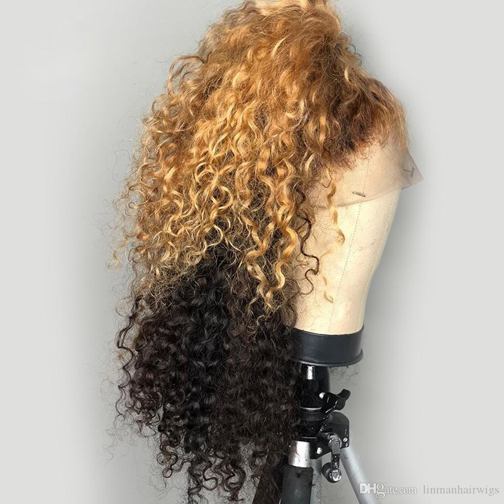 Destaque Ombre Honey Blonde 13X6 Parte profunda de encaje Frente Pelucas de cabello humano Preplucked Remy Curly 360 Lace Frontal Wig