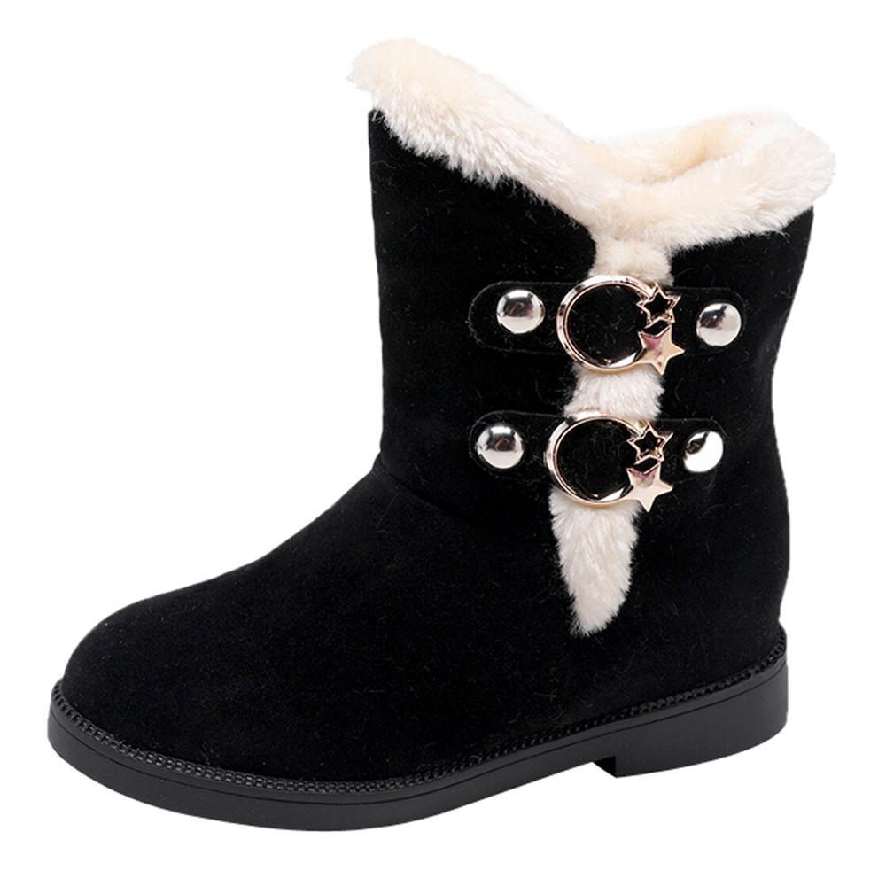 a905227af6e Compre Otoño Invierno Mujer Botas Para La Nieve Punta Redonda Tobillo  Cálido Peluche Botas Para La Nieve Mujer Slip On Zapatos Para Mujer Pisos  Negro A ...