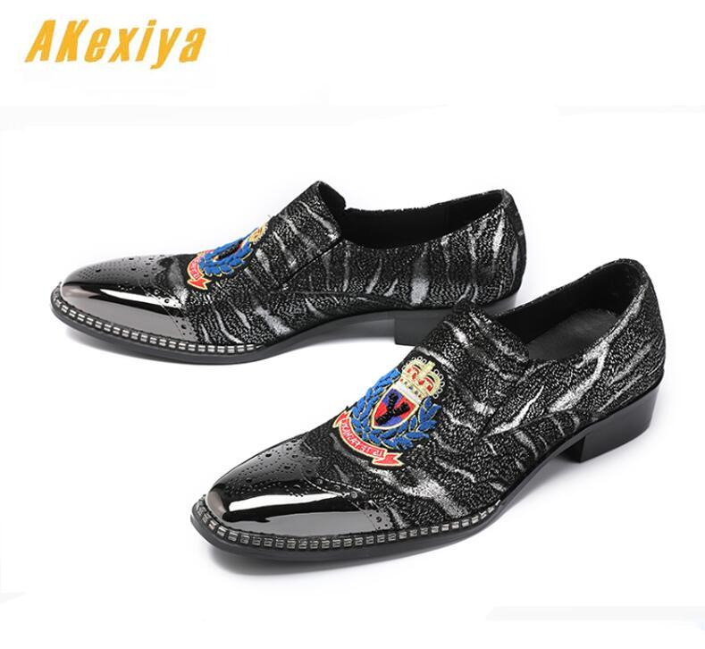 Men Luxury Designer High Quality Punk Rock Brogue Embroidery Shoes