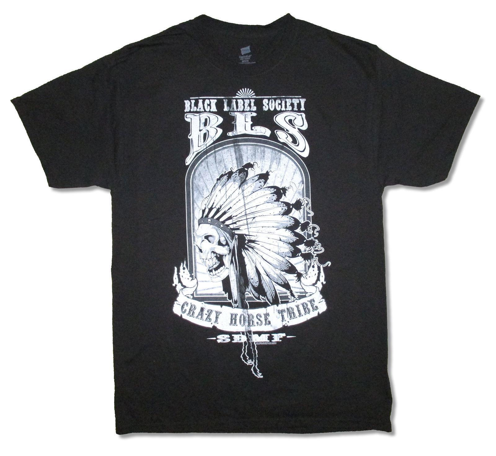 Black Label Society - T-shirt Noir avec Crazy Horse Warpath Tour 2011 - Nouveau Officiel BLS
