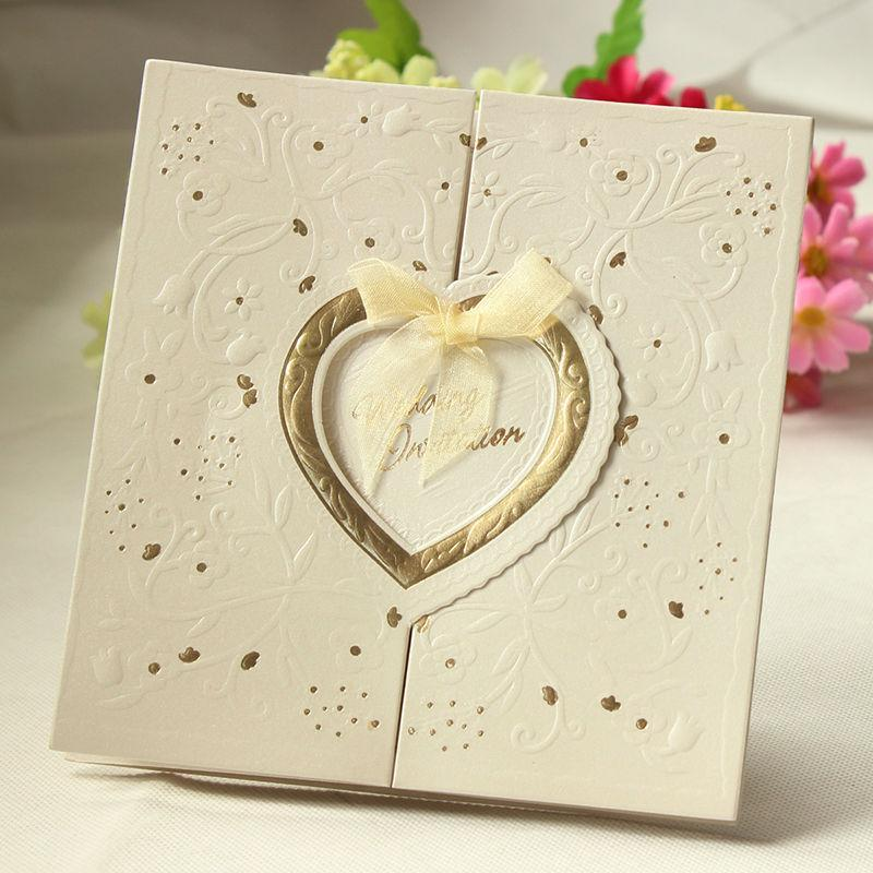 Wholesale-New Arrival 20 PCS Laser Cut Love Heart Shining Wedding Invitations Luxurious Wedding Invitation Cards Wedding Centerpieces