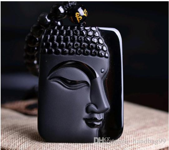 Buddha Pendant Natural obsidian Vintage Necklace Black Buddha Head Pendant For women&men Jade Jewelry A20