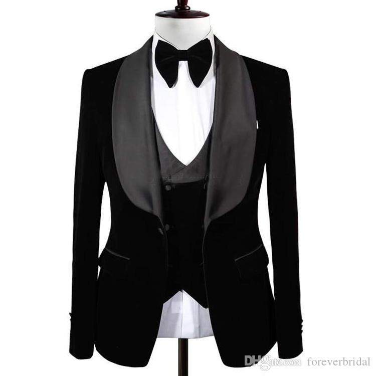 New Popular Black Groom Tuxedos Shawl Lapel One Button Men Suits Wedding/Prom/Dinner Best Man Blazer(Jacket+Vest+Pants)