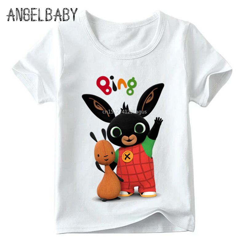 Kinder Cartoon Bing Rabbit / Bunny lustiges T-Shirt Baby Jungen / Mädchen Sommer Tops Kurzarm T-Shirts Kinder niedlich