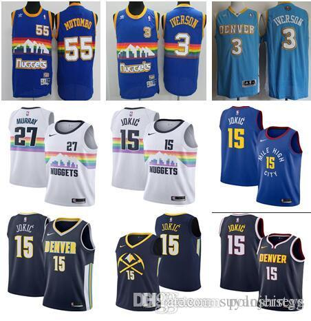 661aabc20ea 2019 2018 2019 New Season Denver Basketball Nuggets Jersey  55 Dikembe  Mutombo  3 Allen Iverson 15 Nikola Jokic  27 Murray Embroidered Logo Je  From ...