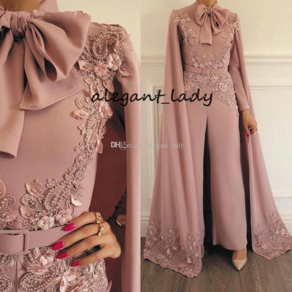 muslim Jumpsuit Rompers with cape for Women Dusty Pink Beaded Lace Applique Evening Pants Dubai Arabic prom Dresses