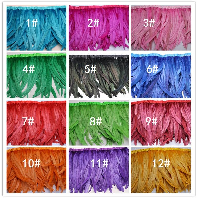30-35cm 12-14 polegadas Royal Blue Galo Pena Trims frango penas da cauda Trims pica Coque penas StrungChicken Corte 2m 2 Yards