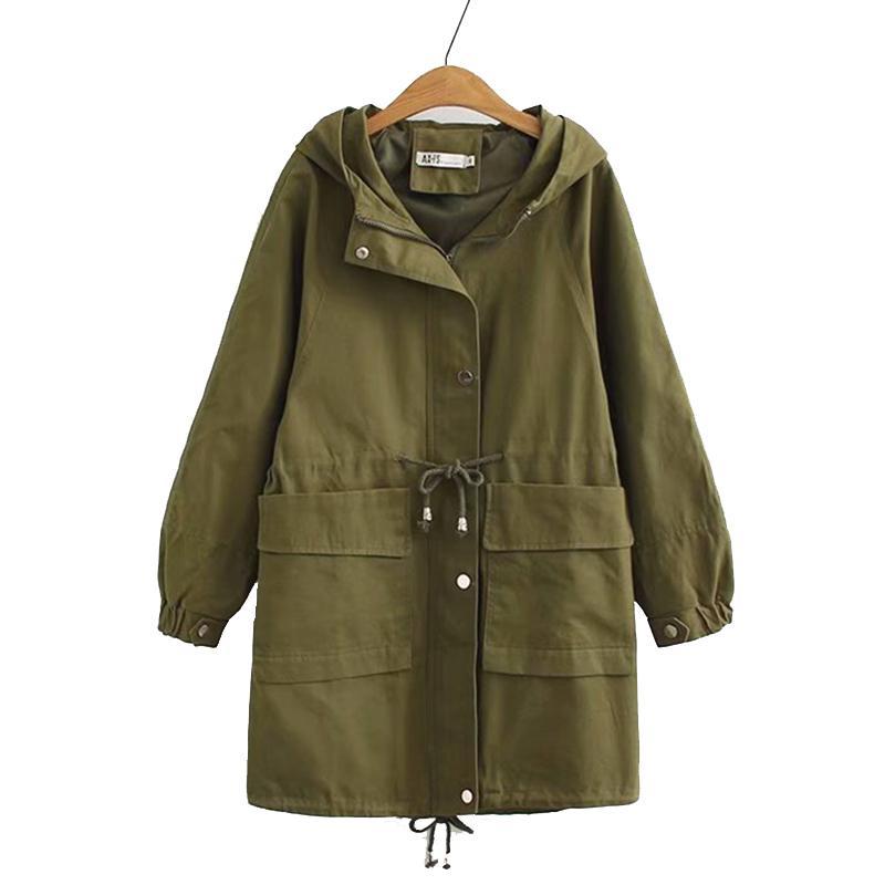 86b76071e67 Spring Bomber Jackets For Women Long Female Drawstring Windbreaker Coat  2019 Korean Jacket Woman Hooded Plus Size Outerwear Black Jackets Leather  Bomber ...