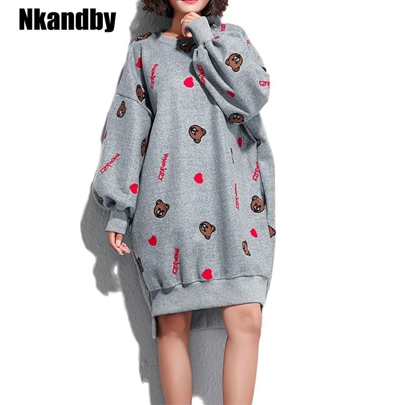 Plus size Women Sweatshirts Dress Casual Loose Oversized Fleece Thicken  Sweatshirt Winter Embroidery Beer Pullover Dresses mujer