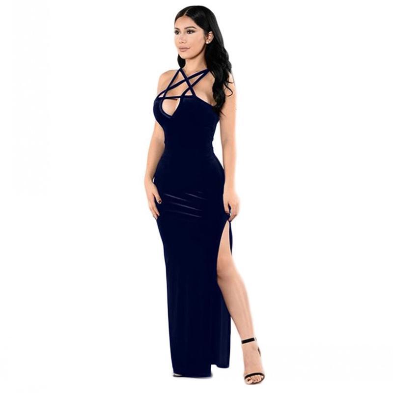 cecedc981880c Maxi Long Dress Elegant Women Sexy High Split Sleeveless Sheath Dress 2019  Party Club Vintage Halter Vestidos Femme Plus Size