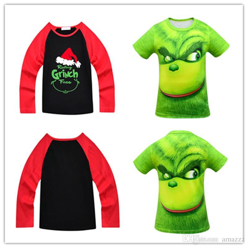 07a02e76 Grinch Kids Tees Face 3D Printed T Shirt Tees Kid Christmas Clothes ...