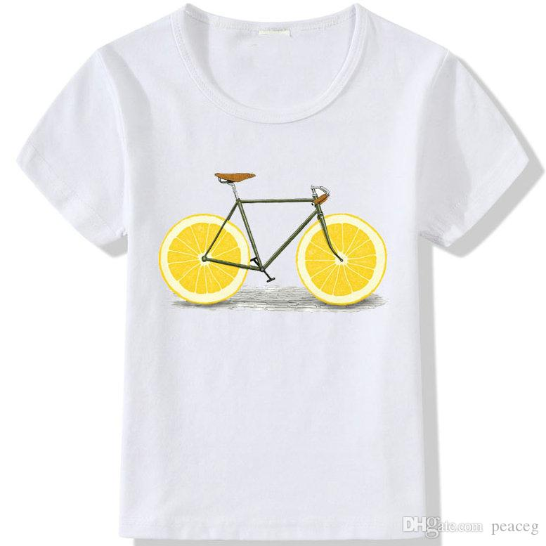 Lemon t shirt Cool bike short sleeve tops Limo wheel fadeless tees Unisex white colorfast clothing Pure color modal Tshirt