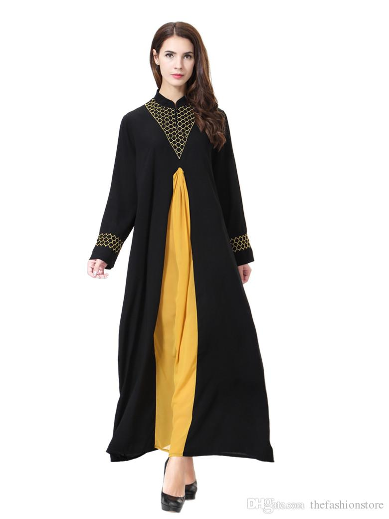 12592e885c 2019 Wholesale Muslim Women Patchwork Kaftan Dress S 3XL Plus Size Islamic  Women Long Sleeved Chiffon Jilbab Dress From Thefashionstore