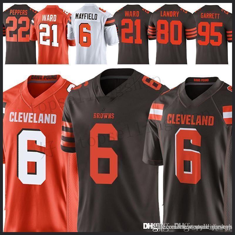 innovative design ae7ae 01f5d 6 Baker Mayfield Cleveland Brown jersey 80 Jarvis Landry 23 Joe Haden 21  Denzel Ward 95 Myles Garrett 73 Joe Thomas jerseys