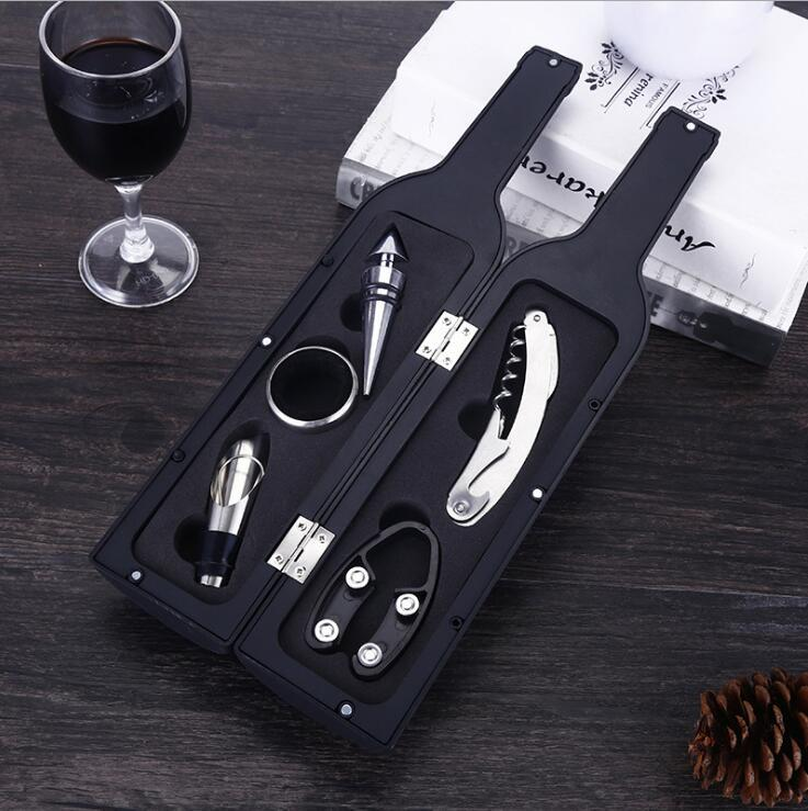 Deluxe Wine Bottle Opener Accessories Gift Set Wine Bottle Opener Wine Stopper Drip Ring Foil Cutter and Pourer Bottle Shaped Carry Case