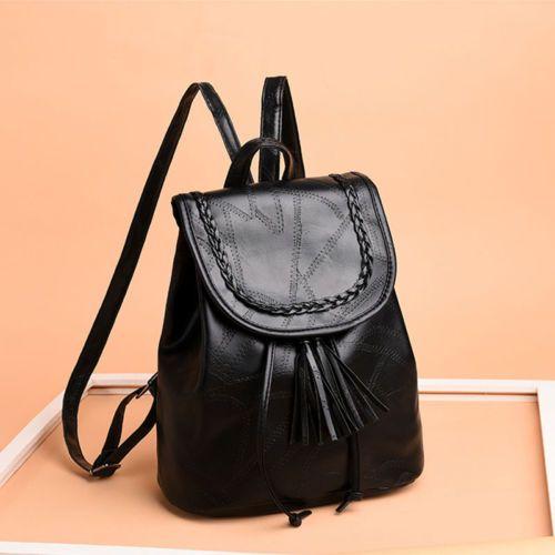 2019 Women Small Backpack Travel PU Shoulder Bag Black Tassel Casual Women  Girl School Bags Packs Hot Sale New Fashion Designer Backpacks College  Backpacks ... a2e5647cf1b62