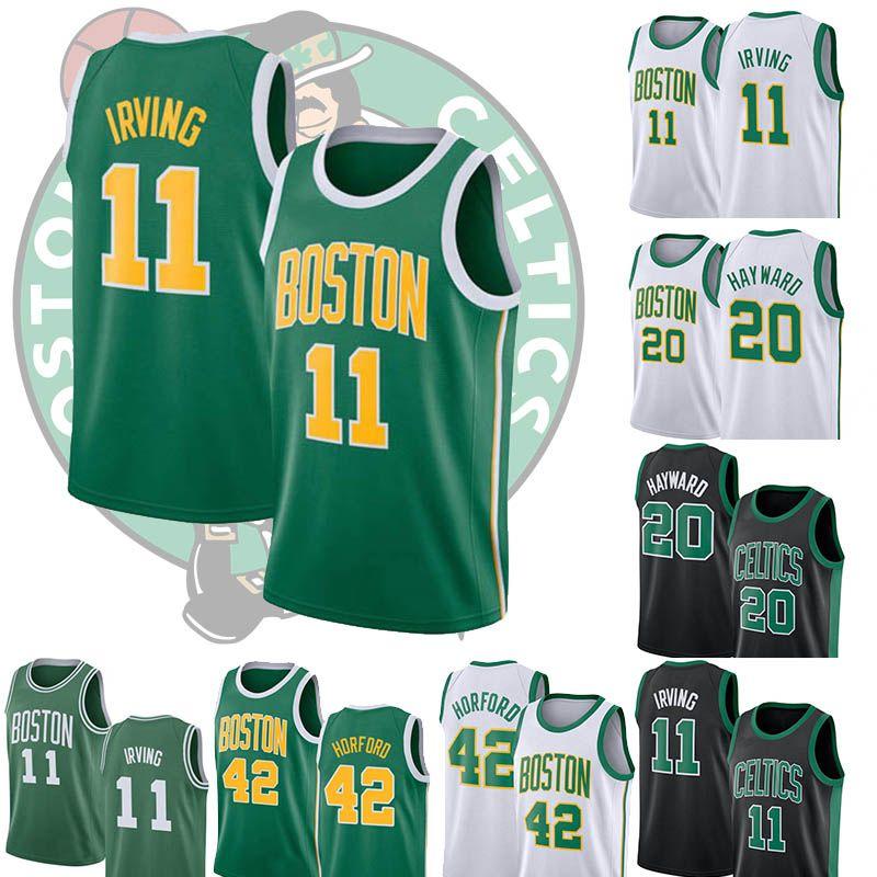 online store 70ab4 3e0c5 2019 Boston 11 Irving 20 Hayward 0 Tatum 42 Horford Mens Black White Green  Stitched Jersey