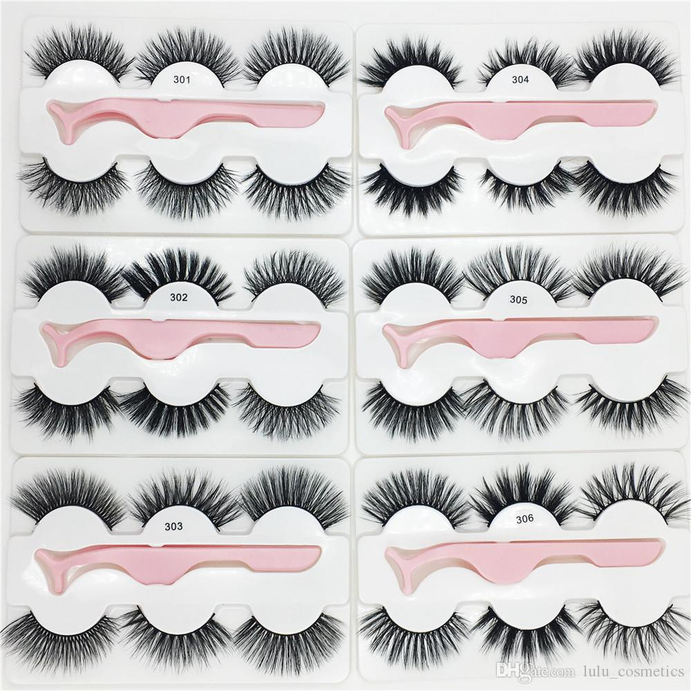 3 pairs faux mink eyelashes with tweezers New 3 Pairs /set with 1pc tweezer Thick Wispy Long Fluffy Dramatic Lashes