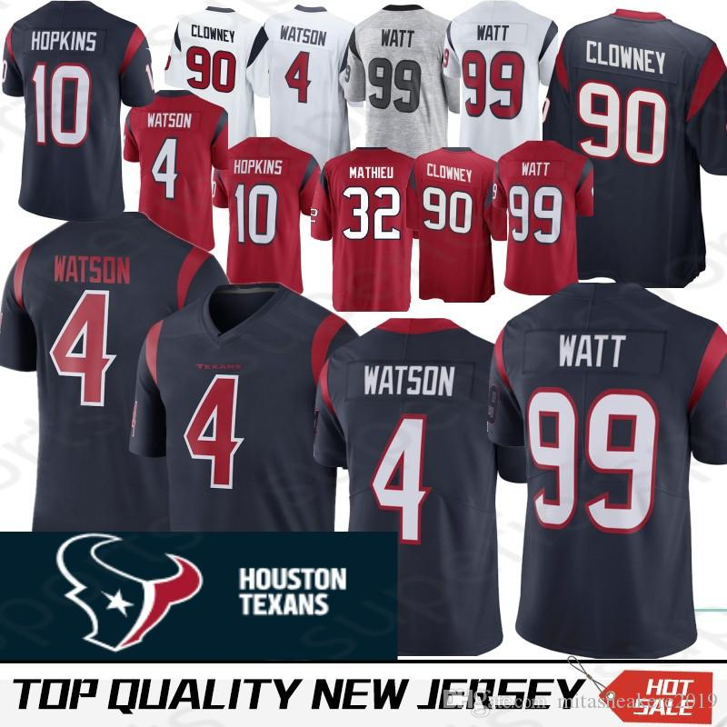 the latest e40ab c0c99 Houston 4 Deshaun Watson Texans Jersey 99 J.J. Watt 32 Tyrann Mathieu 10  DeAndre Hopkins 90 Jadeveon Clowney Jerseys