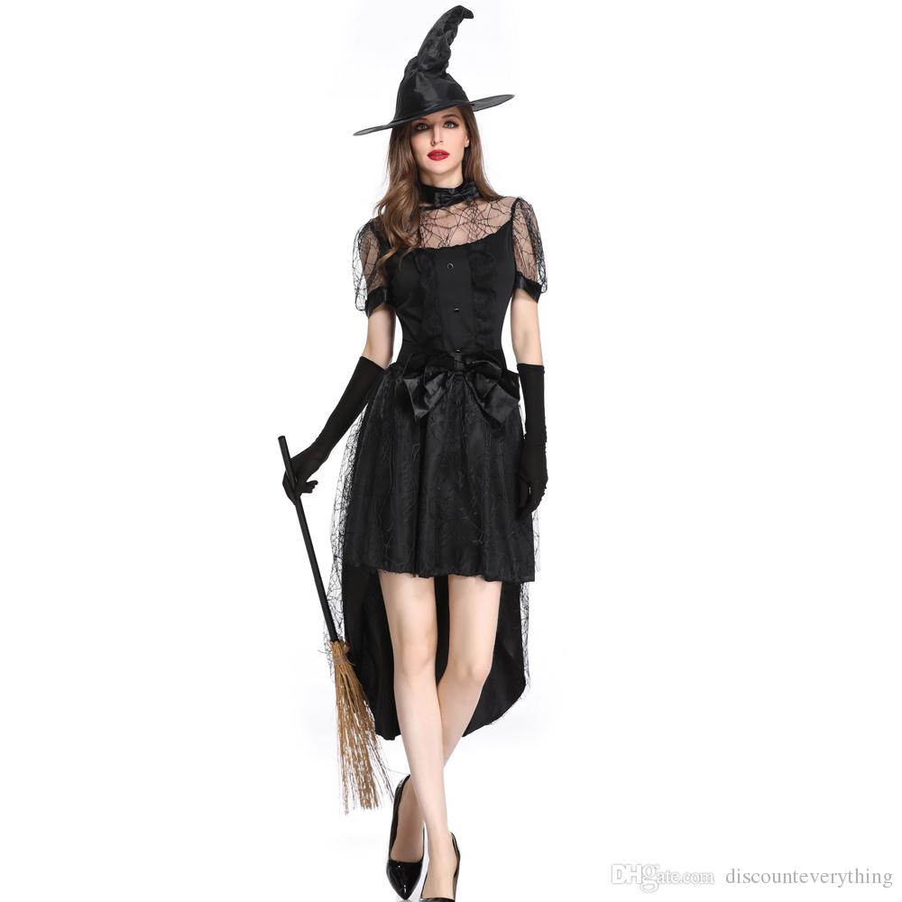 0c579313a07 Women Witch Costume Adult Women Magic Moment Costume Witch Halloween Fancy  Dress Halloween Group Theme Costumes Black And White Theme Party Costume  From ...