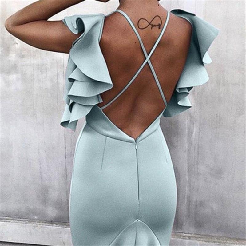 여자 Bodycon 인어 드레스 여성 등이없는 민소매 프릴 어깨 하이 로우 컷 저녁 파티 미디 드레스 새로운 여름 드레스