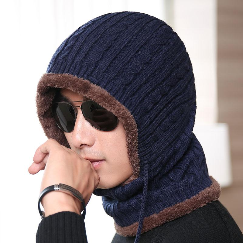 Balaclava Winter Wool Hats Adult Knitted Hat Beanie Men Scarf ... 8afe6e0c797