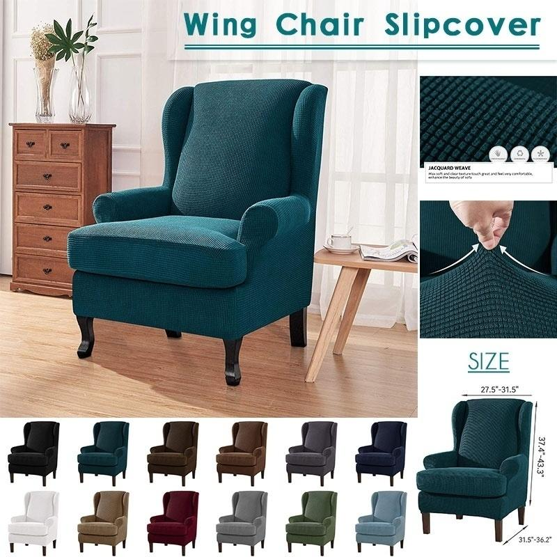 Stretch Soft Slipcover Wing Chair Cover Wingback Armchair Furniture Protector !!